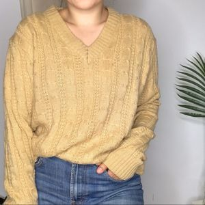 Vintage Camel Cable Knit Oversized V-Neck Sweater